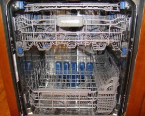 Inside of a stainless steel interior dishwasher